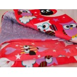 Night Owls Minky Blanket for Girls / Cot / Quilt
