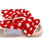 RED ELEPHANT Natural Organic Wooden Teething Ring ,,BUNNY,,