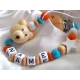 3D Natural Teddy Bear Personalised Wooden Dummy Clip/Chain/Holder/Pacifier