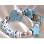 Glitter Blue Heart & Star Personalised Wooden Dummy Clip / Chain / Pacifier / Holder