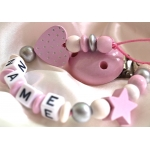 Glitter Pink Heart & Star Personalised Wooden Dummy Clip / Chain / Pacifier / Holder
