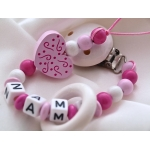Personalised Wooden Dummy Clip with Teething Ring
