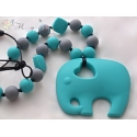 Silicone Teething / Nursing Necklace for Mommy / Elephant & Turquoise