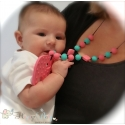Silicone Teething / Nursing Necklace for Mommy / Elephant & Soft Pink