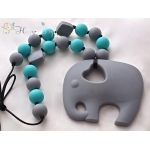 Silicone Teething / Nursing Necklace for Mommy / Elephant & Grey