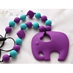 Silicone Teething / Nursing Necklace for Mommy / Elephant & Purple