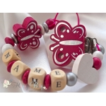 Hot Pink Butterfly Personalised Wooden Dummy Clip/Chain