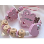 Light Pink Butterfly Personalised Wooden Dummy Clip / Chain