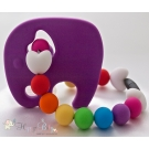 Purple Pink Elephant Silicone Teether & Chew Toy