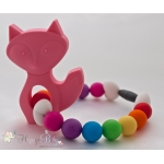 Soft Pink Fox Silicone Teether & Chew Toy