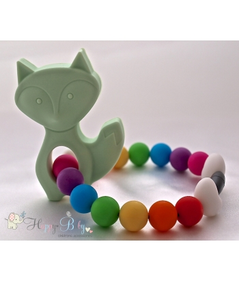 Soft Mint Fox Silicone Teether & Chew Toy