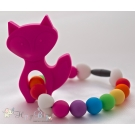Hot Pink Fox Silicone Teether & Chew Toy
