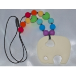 Silicone Teething / Nursing Necklace for Mommy / Elephant & Ivory