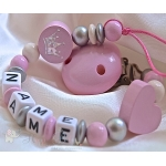 Pink Christening  CROWN & HEART Personalised Wooden Dummy Clip / Chain