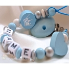 Blue Christening  CROWN & HEART Personalised Wooden Dummy Clip / Chain
