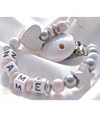 White Christening Shiny Heart & Star Personalised Wooden Dummy Chain / Clip