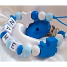 BLUE TRAIN & STAR Personalised Wooden Dummy Clip / Chain