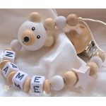 White BEAR 3D & STAR Personalised Wooden Dummy Clip