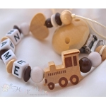 Natural Train & Heart Personalised Wooden Dummy Clip / Chain
