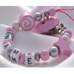 Pink SPIRAL & STAR Personalised Wooden Dummy Clip / Chain