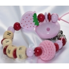STRAWBERRY & BALL Personalised Wooden Dummy Clip / Chain