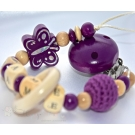 BUTTERFLY & CROCHET & TEETHER Purple Personalised Wooden Dummy Clip / Chain