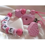 HEART with DOTS & STAR Light Pink Personalised Wooden Dummy Clip  / Chain