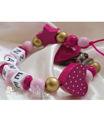 HEART with DOTS & STAR Hot Pink Personalised Wooden Dummy Clip  / Chain