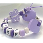 BUTTERFLY & HEART Lavender Personalised Wooden Dummy Clip / Chain