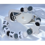 BOAT & STAR Black & White Personalised Wooden Dummy Clip/Chain
