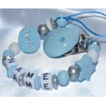 PRINCE Blue Personalised Wooden Dummy Clip/Chain