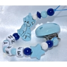 FOX Blue Personalised Wooden Dummy Clip/Chain