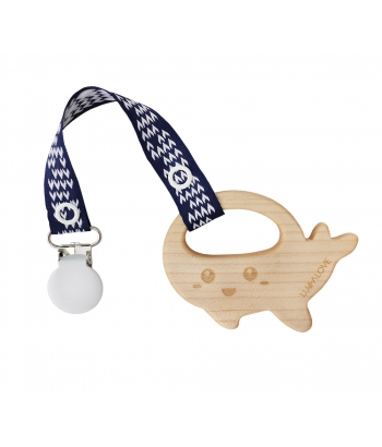 WHALE Teether with a Pacifier Clip - MaMari by Lullalove