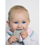 Eco Teether supeRRO Baby Hevea with Bamboo Bib by Lullalove * Pink