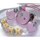 EXCLUSIVE * Pink GLITTER Crown Personalised Wooden Dummy Clip / Chain