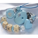 EXCLUSIVE * Blue GLITTER Crown Personalised Wooden Dummy Clip / Chain