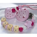 DAISY Pink Personalised Wooden Dummy Clip / Chain