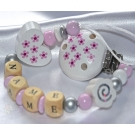 DAISY White Personalised Wooden Dummy Clip / Chain