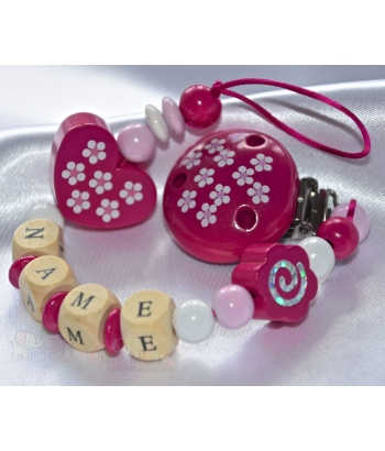 DAISY Hot Pink Personalised Wooden Dummy Clip / Chain