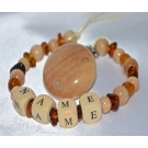 Amber & Wooden. Personalised Dummy Clip / Chain