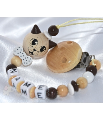 Cat 3D with Bow Natural - Personalised Wooden Dummy Clip / Chain