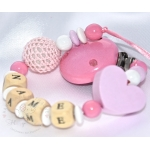 Pink Star & Crochet Ball Personalised Wooden Dummy Clip / Chain