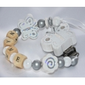 White BUTTERFLY & FLOWER Personalised Wooden Dummy Clip / Chain