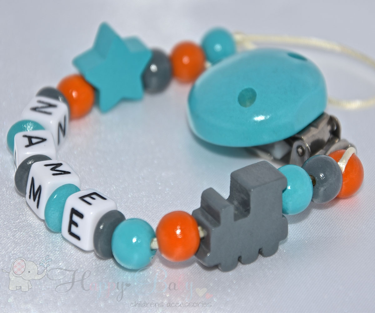 Personalised Baby Dummy Clips Dummy Holder Pacifier Clip Blue, Grey, Fox, Star Dummy Chain