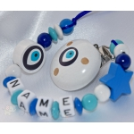 Blue NAZAR EYE Personalised Wooden Dmmy Clip