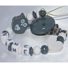 Grey OWL & HEART Personalised Wooden Dummy Clip / Chain
