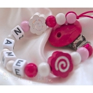 Shiny FLOWERS Personalised Wooden Dummy Clip / Chain