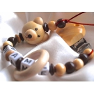 3D Natural Teedy Bear & Teething Ring - Personalised Wooden Dummy Clip / Chain
