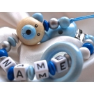 3D Blue Teedy Bear & Teething Ring - Personalised Wooden Dummy Clip / Chain