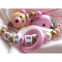 3D Pink Teedy Bear & Teething Ring - Personalised Wooden Dummy Clip / Chain